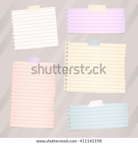 Pieces of torn white lined note paper, banners are stuck on brown diagonal background
