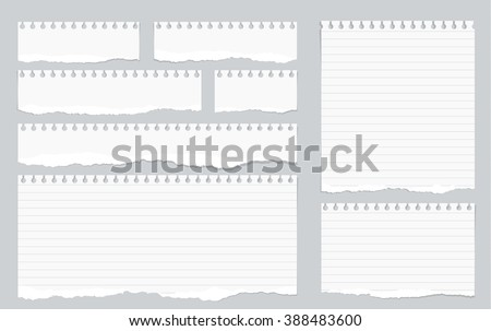 Pieces of torn white lined notebook paper on gray background