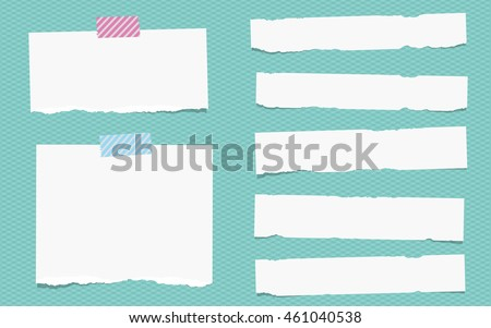 Pieces of torn white note paper are stuck on squared turquoise pattern