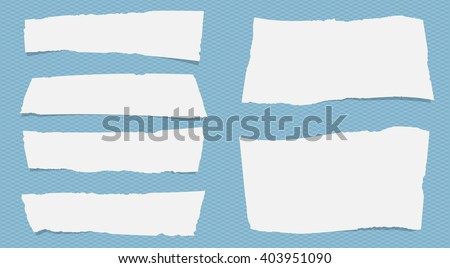 Pieces of torn white note paper with copy space are stuck on squared blue pattern - stock vector