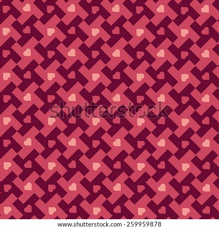 Pied de poule and heart patterned fabric print design. - stock vector