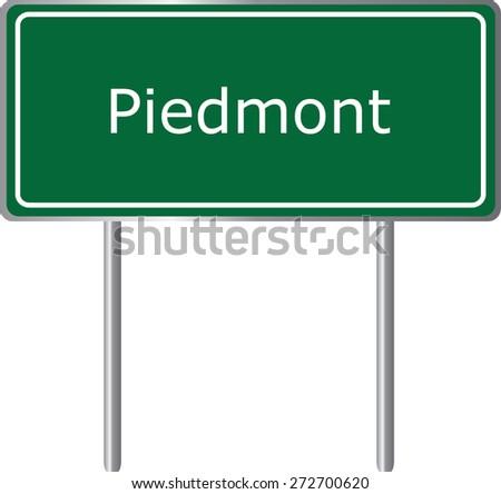 Piedmont, Alabama, road sign green vector illustration, road table, USA city - stock vector