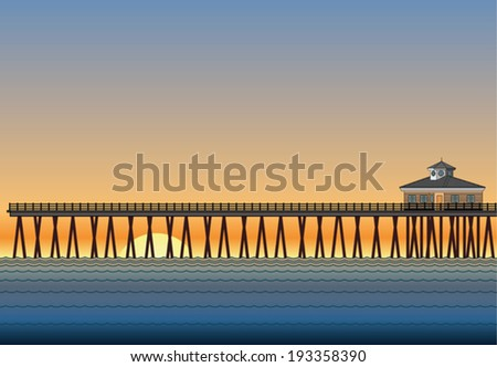 Pier With Sunset is an illustration of a pier on the ocean with sunset or sunrise in the background.