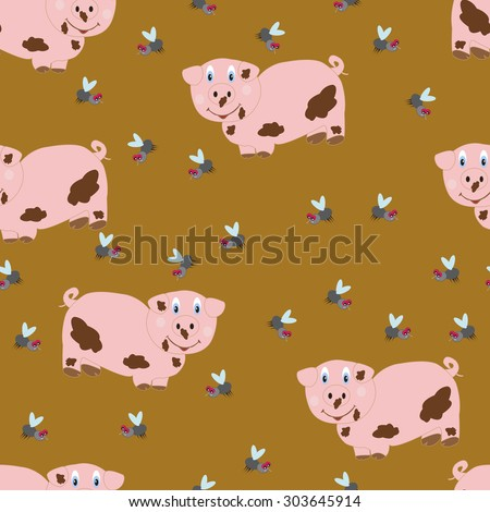 pig and flies seamless pattern on brown background - stock vector