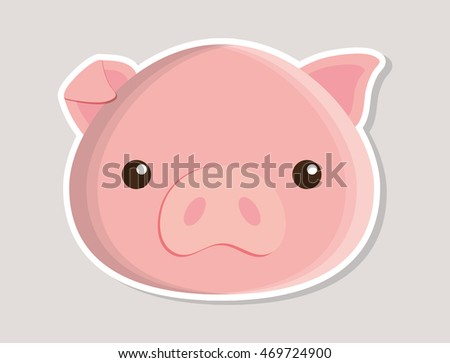 pig animal cute little cartoon icon. Colorful and flat design. Vector illustration