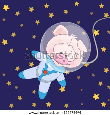 Pig astronaut on a stars background - stock vector