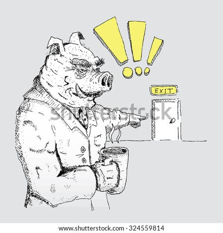 Pig-boss shows where the exit - stock vector