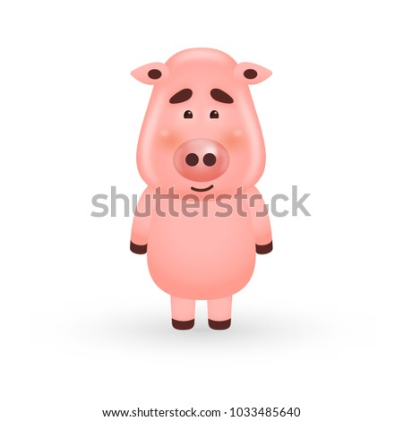 Pig cartoon character isolated on white background