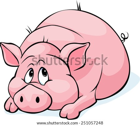 pig cartoon laying isolated on white background - vector illustration - stock vector