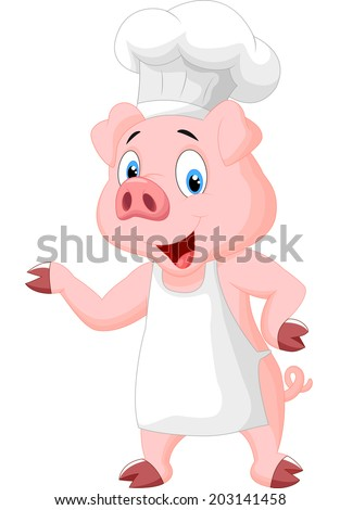 Pig chef cartoon presenting - stock vector