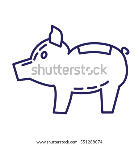 Pig coin box icon in line style on white background
