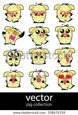 pig collection action - stock vector