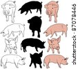 Pig Collection - illustrations, vector - stock vector