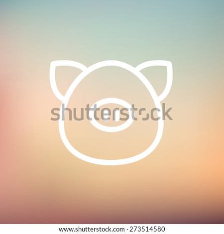 Pig face icon thin line for web and mobile, modern minimalistic flat design. Vector white icon on gradient mesh background. - stock vector