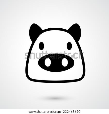 Pig icon vector - stock vector