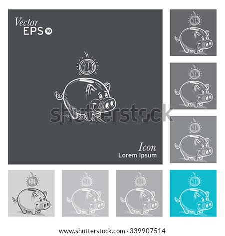 Pig icon -vector, illustration. - stock vector