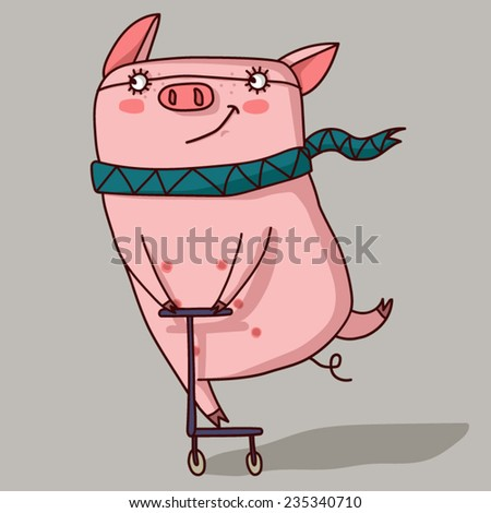 Pig in a scarf rides a scooter. - stock vector