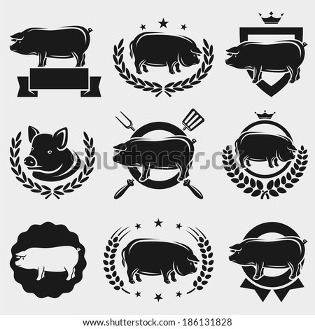 Pig labels and elements set. Vector - stock vector