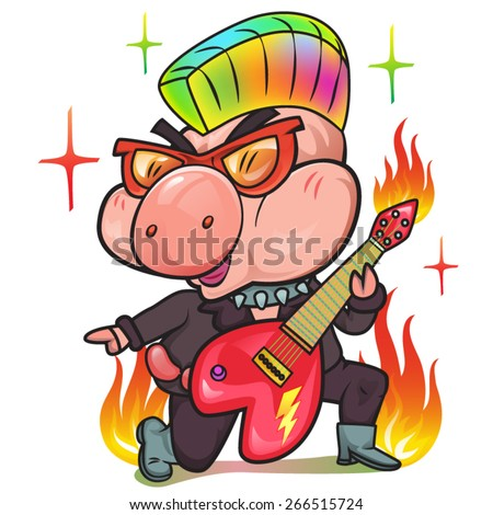 pig musician playing  guitar, vector - stock vector