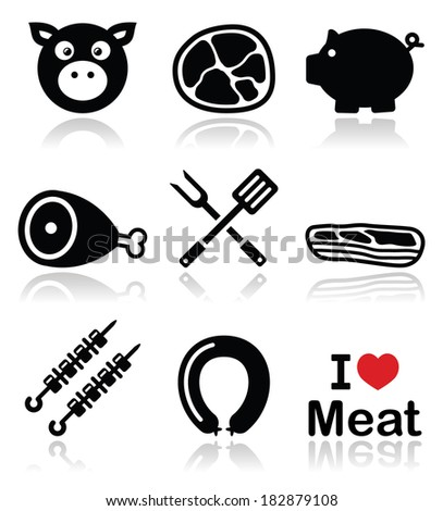 Pig, pork meat - ham and bacon icons set  - stock vector