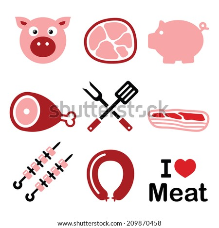 Pig, pork meat - pink ham and bacon icons set    - stock vector
