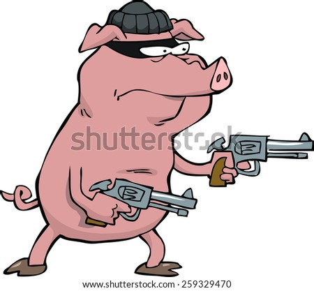 Pig robber with two revolvers vector illustration - stock vector
