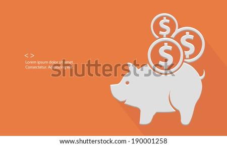 Pig saving money,blank for text,orange version,vector - stock vector