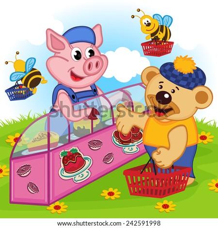 pig seller of cakes - vector illustration, eps - stock vector