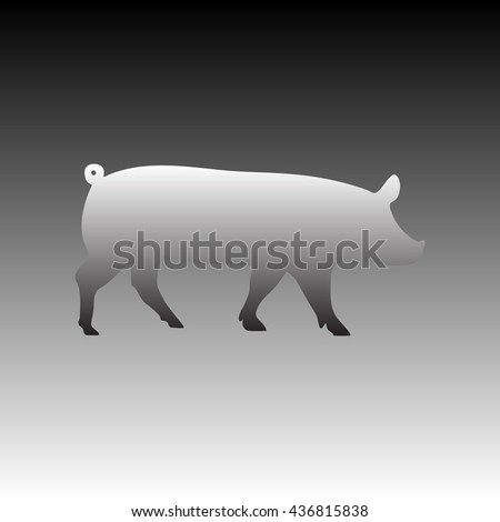 Pig sign illustration. Gradient icon on gradient background. - stock vector