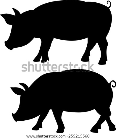 pig silhouette - black vector illustration - stock vector