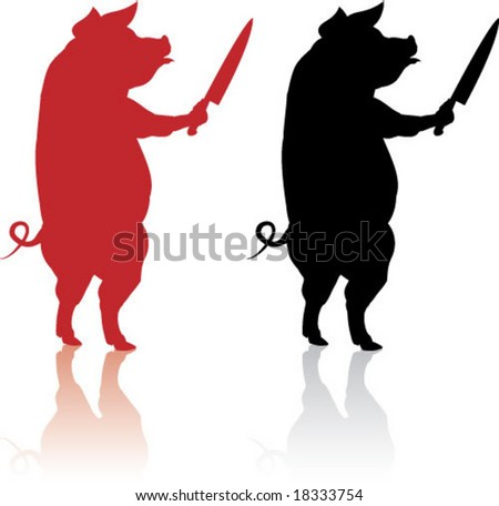 Pig with a Knife Icon - stock vector