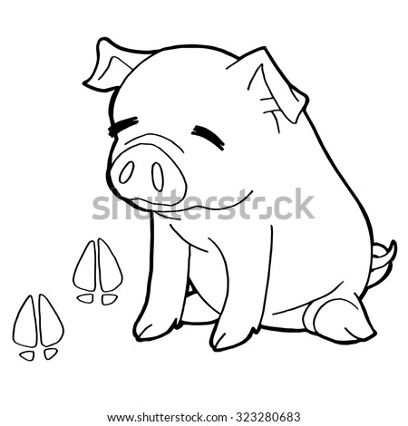 Pig Paw Print Coloring Pages Vector Stock Vector 323280683 ...