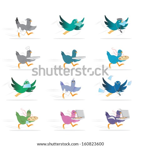 Pigeon Bird Courier, Pizza And Letter Delivery - Isolated On White Background - Vector Illustration, Graphic Design Editable For Your Design.  - stock vector