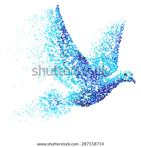 Pigeon built of blue and cyan particles - stock vector
