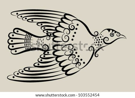Pigeon decorative ornament. bird sketch with curl decoration - stock vector