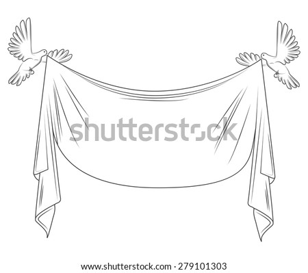 pigeon. dove and textile banner, form, blank for text