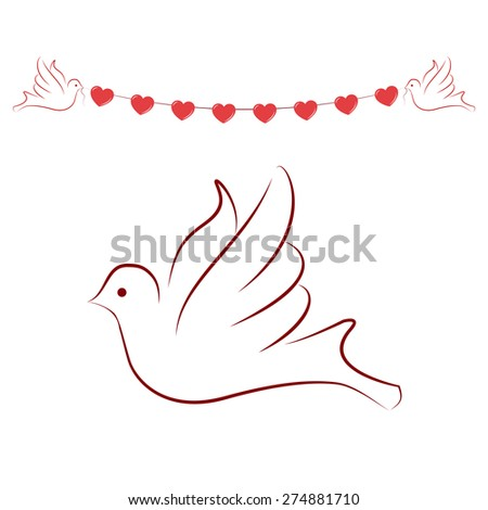 pigeon, dove with heart - stock vector