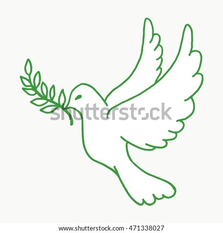 Pigeon on a white background. Dove vector outline sign, pigeon silhouette abstract image peace pigeon with bay leaf plant. Dove a symbol of peace. Dove icon. Dove logo. Pigeon poster. Pigeon card.Dove