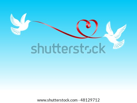 Pigeons who hold the red tape bound in the form of a heart - stock vector