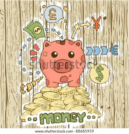 piggy and money circulation - stock vector