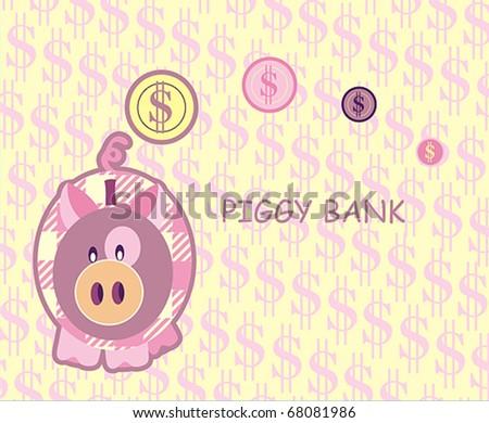 piggy bank - stock vector