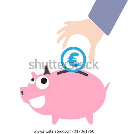 Piggy bank and business hand putting money, currency Euro symbol for saving concept in vector - stock vector