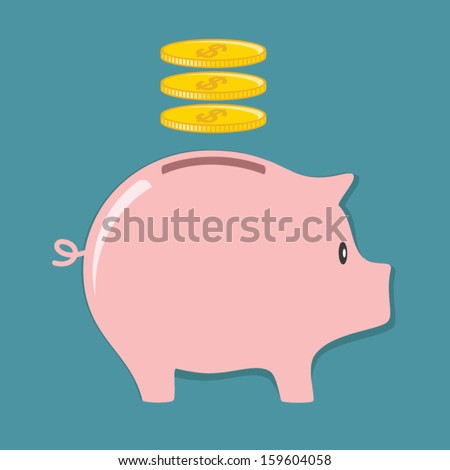 Piggy bank and Coin - stock vector