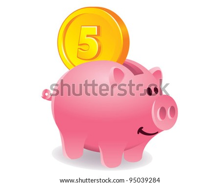 Piggy bank and coin illustration - stock vector