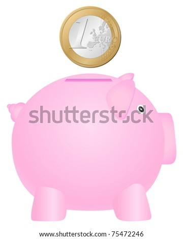Piggy bank and coin on white background. Vector illustration. - stock vector
