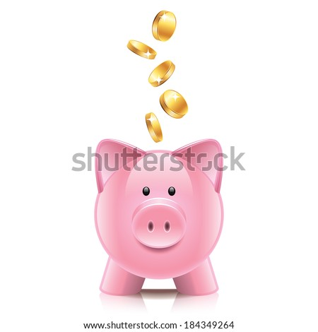 Piggy bank and coins isolated on white photo-realistic vector illustration - stock vector