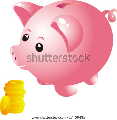 Piggy bank and coins-vector