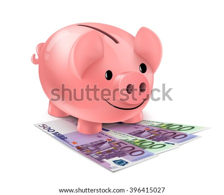 Piggy bank and fan of euro banknotes. Piggybank standing on heap of one hundred and five hundred euro bills isolated on white background.