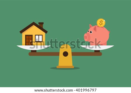 Piggy bank and house on scales. Illustration in vectors.