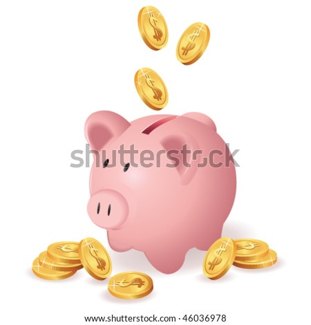 piggy bank and money - stock vector